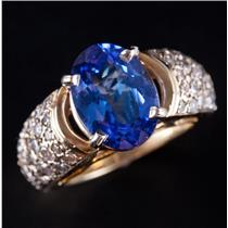 14k Yellow Gold Oval Cut Tanzanite Cocktail Ring W/ Diamond Pave Accents 4.50ctw