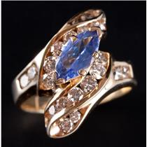 14k Yellow Gold Marquise Cut Tanzanite & Diamond Cocktail Ring 2.55ctw