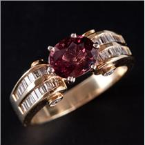 14k Yellow Gold Oval Cut Rhodolite Garnet & Diamond Cocktail Ring 2.13ctw
