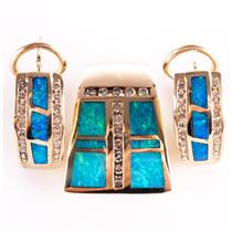 14k Yellow Gold Blue Opal & Diamond Pendant Huggie Earring Set 1.36ctw