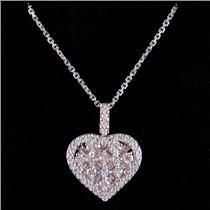 "18k White Gold Round & Baguette Cut Diamond Heart Pendant W/ 18"" Chain 1.25ctw"