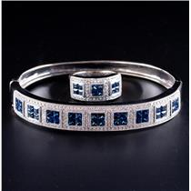 14k White Gold Princess Cut Sapphire & Diamond Bracelet / Ring Set 9.87ctw