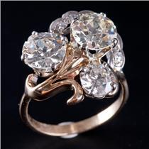 14k Yellow & White Gold Old Mine / Euro Transitional Cut Diamond Ring 3.60ctw