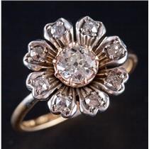 Vintage 1910's 18k Yellow / Rose Gold & Platinum Diamond Engagement Ring .74ctw