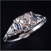 Vintage 1930's 18k White Gold Diamond & Lab Sapphire Engagement Ring .65ctw