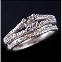 10k White Gold Round Cut Diamond Solitaire Engagement Wedding Ring Set .305ctw