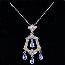 "14k White Gold Pear Cut Tanzanite & Diamond Pendant W/ 18"" Chain 1.24ctw"