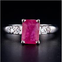 14k White Gold Ruby Solitaire Engagement Ring W/ Diamond Accents 1.31ctw
