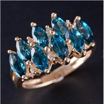 14k Yellow Gold Marquise Cut Blue Topaz & Diamond Cocktail Ring 2.62ctw