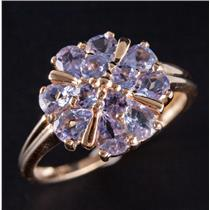 14k Yellow Gold Pear & Round Cut Tanzanite Cluster Cocktail Ring 1.68ctw