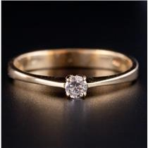 18k Yellow Gold Round Cut Diamond Solitaire Engagement Ring .10ct