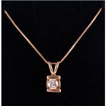 "14k Yellow Gold Round Cut Diamond Solitaire Pendant W/ 18"" Chain .16ct"
