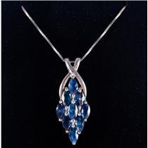 "14k White Gold Marquise Cut Sapphire Cluster Pendant W/ 18"" Chain 3.15ctw"