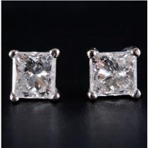 14k White Gold Princess Cut Diamond Solitaire Stud Earrings .70ctw