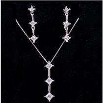 14k White Gold Princess Cut Diamond Graduated Necklace / Earring Set .85ctw