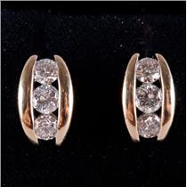 14k Yellow Gold Round Cut Diamond Three-Stone Style Post Earrings .38ctw