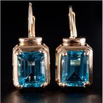 14k Yellow Gold Emerald Cut Swiss Blue Topaz Dangle Earrings W/ Leverback 4.0ctw