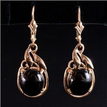 14k Yellow Gold Oval Cabochon Cut Onyx Solitaire Dangle Earrings 3.6g