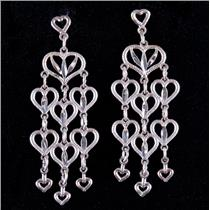 14k White Gold Heart Style Dangle Earrings W/ Butterfly Backs 1.6g