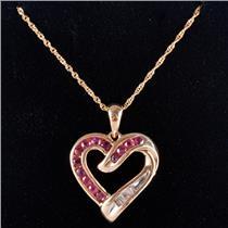 "14k Yellow Gold Round Cut Ruby & Diamond Heart Pendant W/ 16"" Chain .58ctw"