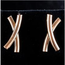 "14k Yellow Gold ""X"" Style Post Earrings W/ Butterfly Backs 2.2g"