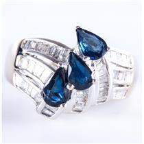 18k White Gold Pear Cut Sapphire & Baguette Cut Diamond Ring 1.54ctw
