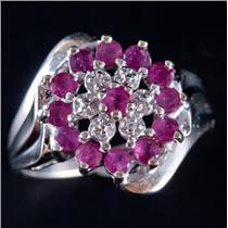 10k White Gold Round Cut Ruby & Diamond Floral Flower Cluster Ring .92ctw