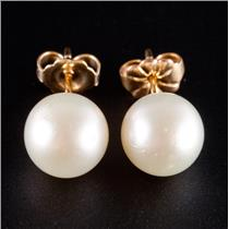 14k Yellow Gold Freshwater Cultured Pearl Solitaire Stud Earrings 2.3g