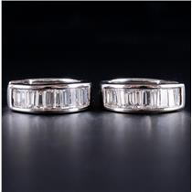 14k White Gold Baguette Cut Diamond Huggie Hoop Earrings W/ Latch Backs 1.06ctw