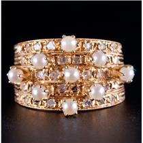 Vintage 1900's 18k Yellow Gold Pearl & Rose Cut Diamond Harem Style Ring .48ctw