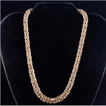"14k Yellow Gold Italian Graduated Flat Style Byzantine Chain Necklace 17"" Length"