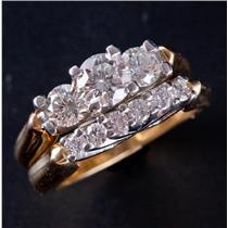 18k Yellow Gold & Platinum Leo Diamond Engagement / Wedding Ring Set 1.24ctw