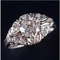 Vintage 1920s 14k White Gold Diamond Solitaire Engagement Ring W/ Accents 1.45ct