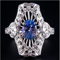 14k White Gold Tanzanite Solitaire Filigree Style Ring W/ Diamond Accents .91ctw