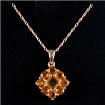 "10k Yellow Gold Step Square Cut Citrine Floral Style Pendant W/ 16"" Chain 1.8ctw"