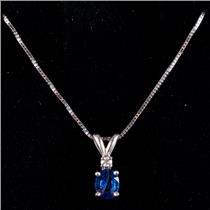 "14k White Gold Oval Cut Ceylon Sapphire & Diamond Pendant W/ 16"" Chain .36ctw"