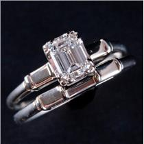Vintage 1940s 14k White Gold Diamond Solitaire Engagement Wedding Ring Set .40ct