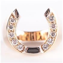 Men's 14k Yellow & White Gold Two-Tone Diamond Horseshoe Cocktail Ring .50ctw