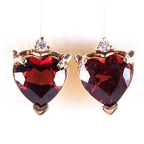 14k Yellow Gold Heart Garnet Solitaire Stud Earrings W/ Diamond Accents 1.43ctw
