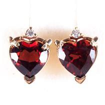 14k Yellow Gold Heart Garnet Solitaire Stud Earrings W/ Diamond Accents 1.43ctw