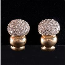 14k Yellow Gold Round Cut Diamond Cluster Style Huggie Earrings 1.80ctw