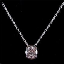 "14k White Gold Round Cut Diamond Solitaire Half Bezel Pendant W/ 18"" Chain .95ct"