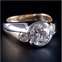 18k Yellow Gold & Platinum Round Cut Diamond Three-Stone Engagement Ring 2.51ctw