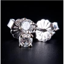 14k White Gold Round Cut Diamond Solitaire Stud Earrings .24ctw
