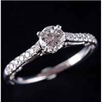 14k White Gold Verragio Diamond Solitaire Engagement Ring W/ Accents 1.03ctw