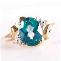 10k Yellow Gold Oval Cut Blue Topaz Solitaire Ring W/ Diamond Accents 2.45ctw