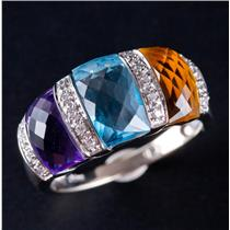 14k White Gold Fancy Cut Multi-Gemstone & Diamond Cocktail Ring 5.28ctw