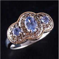 14k White & Yellow Gold Two-Tone Tanzanite & Brown Diamond Ring 1.04ctw