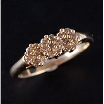 10k Yellow Gold Round Cut Brown Diamond Floral Cluster Ring .48ctw