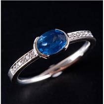 14k White Gold Oval Cut Sapphire Solitaire Engagement Ring W/ Diamonds 1.22ctw